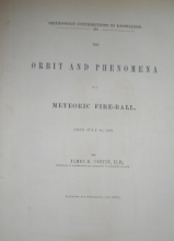 Coffin, James The Orbit and Phenomena of a Meteoric Fire-Ball, Seen July 20, 186